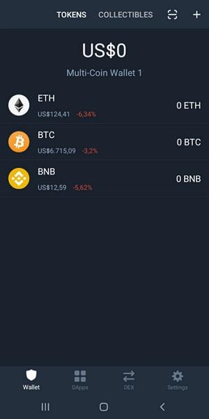 Tampilan dompet bitcoin