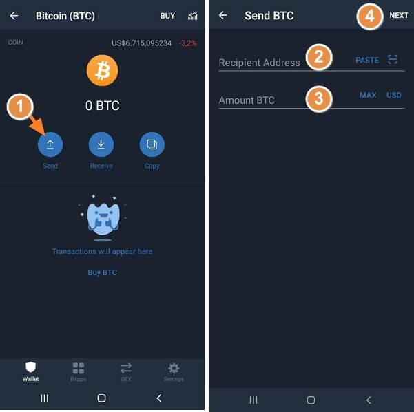 Cara mengirim Bitcoin